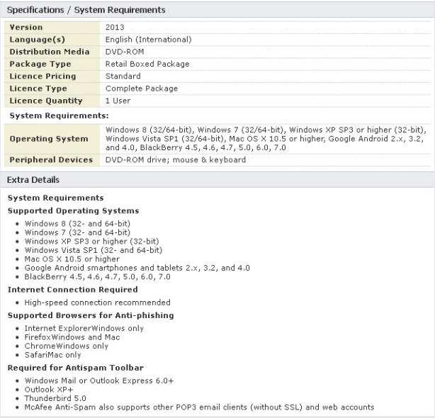 McAfee All Access 2013 System Requirements