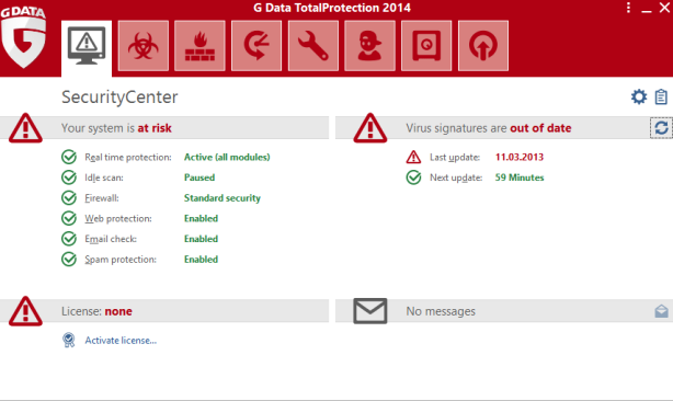 G Data TotalProtection 2014 Screenshot