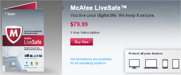McAfee LiveSafe service Buy Now