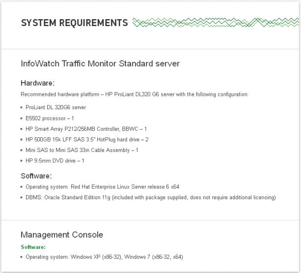 InfoWatch Traffic Monitor Standard server