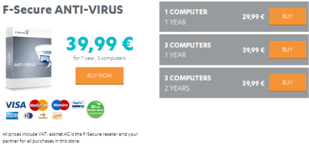 F-Secure Anti-Virus 2014 pricing
