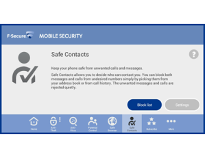 F-Secure Mobile Security Safe Contacts Screenshot
