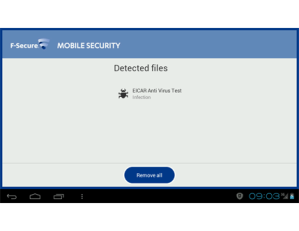 F-Secure Mobile Security Detected Files Screenshot