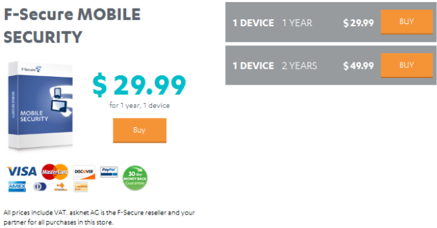 F-Secure Mobile Security Pricing