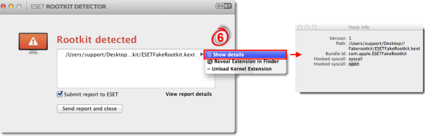 Rootkit Detector detects a rootkit