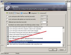 Enter master key on secure desktop