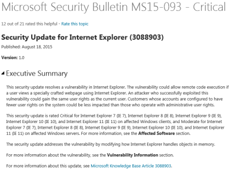 Microsoft Security Bulletin MS15-093